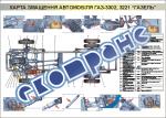 """Плакат """"Карта смазки автомобиля ГАЗ-3302, 3221 """"Газель"""""""